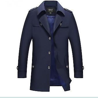 men's Classic Notch Revers Single Breasted Mid Long Trench Coat Jacket