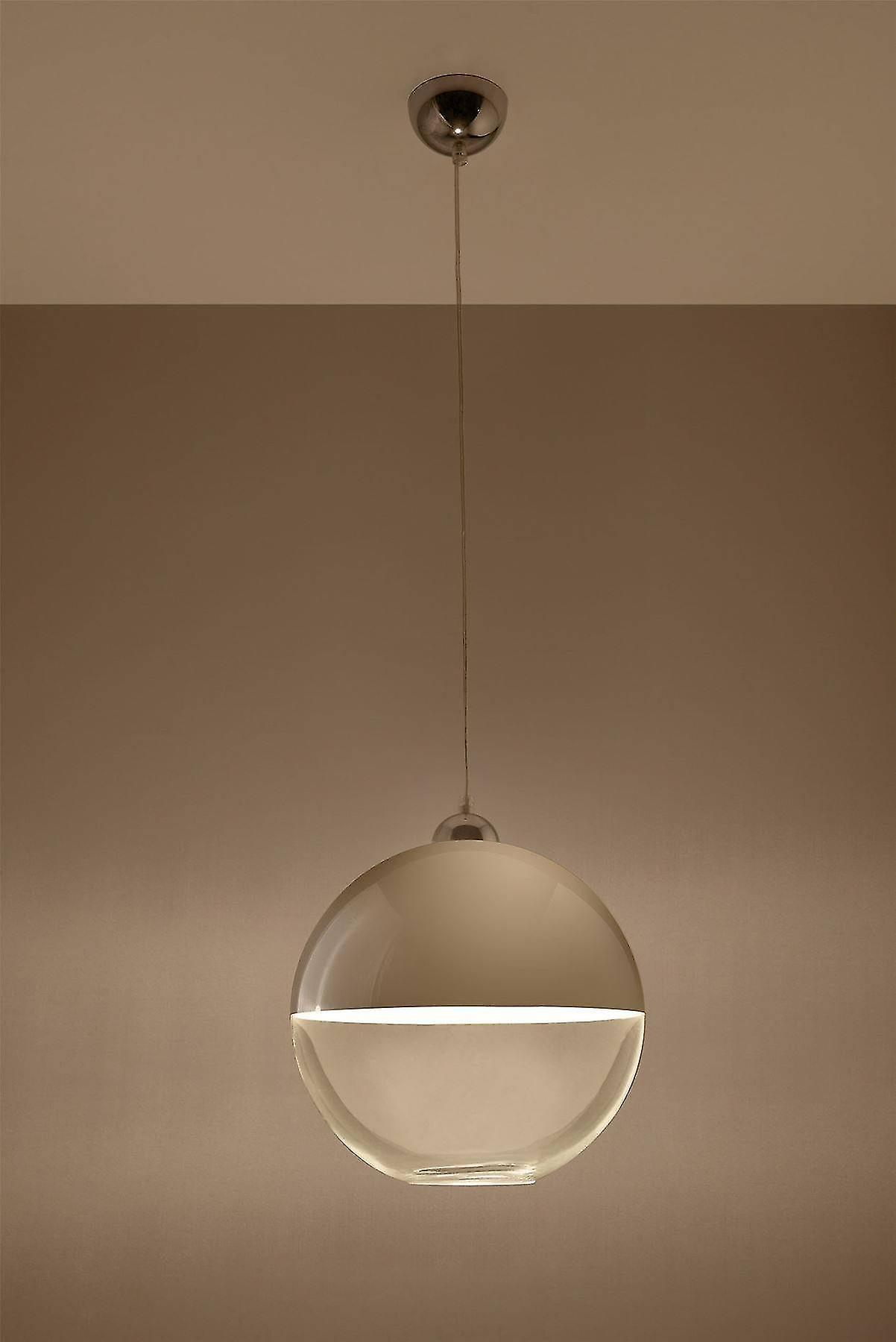 Sollux GINO - 1 Light Globe Pendant Grey, Chrome, E27