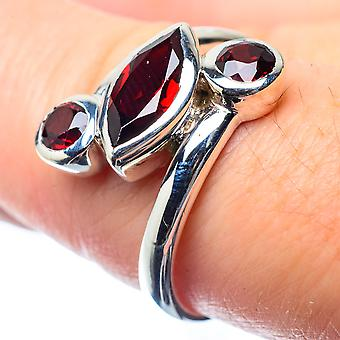 Garnet Ring Size 8 (925 Sterling Silver)  - Handmade Boho Vintage Jewelry RING26471