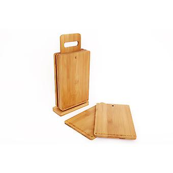 Set Of 6 Bamboo Wooden Chopping Boards Serving Platter