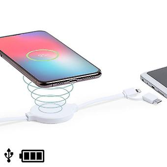 USB cable with Lightning, USB-C and Wireless Charger White