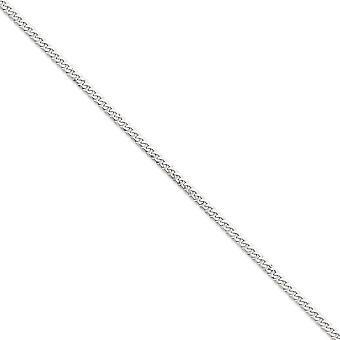 14k solido oro bianco lucido aragosta artiglio chiusura 3,9 mm piatto Curb catena bracciale - moschettone - lunghezza: 7-8