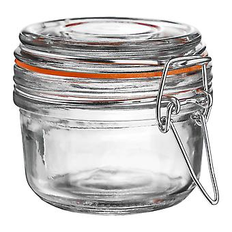 Argon Tableware Glass Storage Jar with Airtight Clip Lid - 125ml - Orange Seal