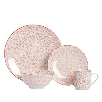 Nicola Spring 24 Piece Daisy Patterned Dinner Set - Dinner Plates, Side Plates, Bowls and Mugs - Coral