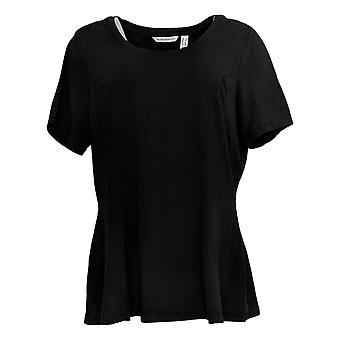 Isaac Mizrahi Live! Women's Top Short Sleeve Seamed Peplum Nero A354253