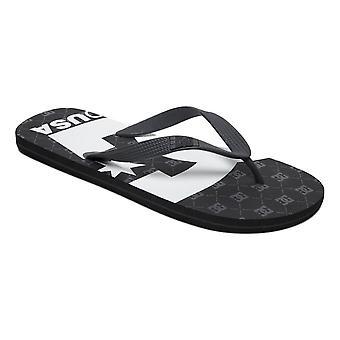 DC Spray Graffik Flip Flops - Black / Gunmetal / White