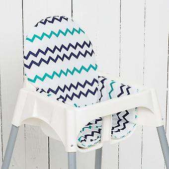 Puckdaddy Seat Cushion Ella pre IKEA High Chair Antilop Chevron Blue Petrol