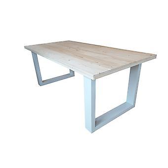 Wood4you - Eettafel New England geschaafd vuren 220Lx78Hx90D cm Wit