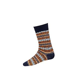 House of Cheviot Gents Fairisle Short Socks ~ Navy