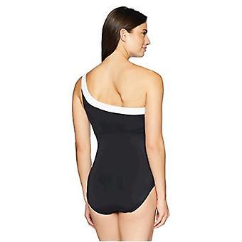 Brand - Coastal Blue Women's One Piece Swimsuit, Ebony, M