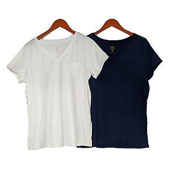 Belle by Kim Gravel Women's V-Neck Set of Two Tops Blue & White A378623