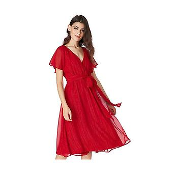 Red flutter sleeve midi dress