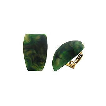 Clip-on Earring Trapezium Green Marbled