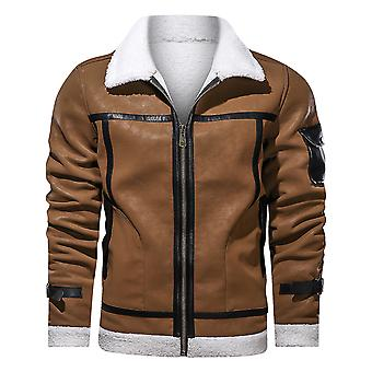 Men's Fashion Classic Velvet Zipper Revers Leren Jas