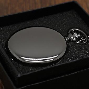 Retro Smooth Steampunk Quartz Pocket Watch Stainless Steel Pendant 30cm Chain