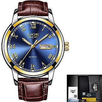Top Brand Leather Chronograph Waterproof Sports Automatic Date Quartz Watch