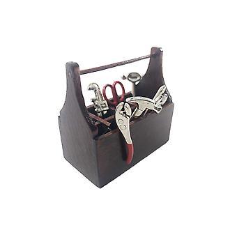 Nukketalon työkalulaatikko &; Metallityökalut Miniatyyripuutarha 1:12 Vapaa työväline