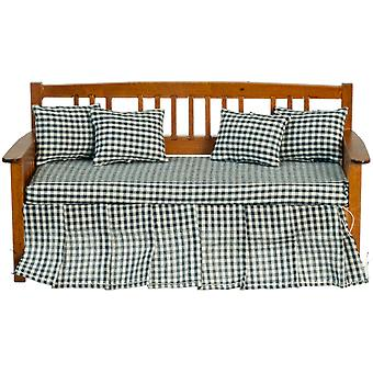 Dolls House Day Bed Sofa Walnut Blue Check Miniature Furniture
