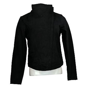 Laurie Felt Mujeres's Twill Military Asymmetric Zip Chaqueta Negro A302509