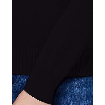 MERAKI Women's Cotton Crew Neck Sweater,  (Black), EU M (US 8)