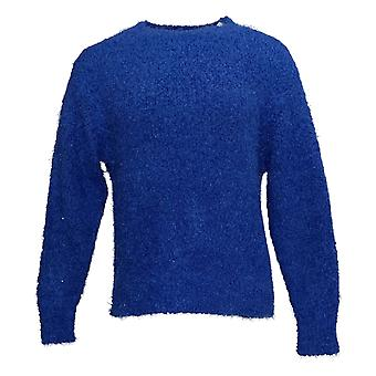 G By Giuliana Women's Sweater XXS Smushy Yarn Pullover Crew Neck Blue 722-472