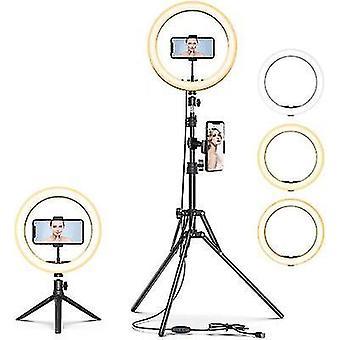 """10""""førte Selfie Ring Light, dæmpbar Beauty Ringlight, med stativstativ og mobiltelefonholder"""