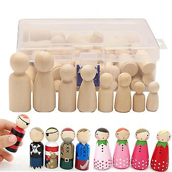 50pcs Unpainted Wooden Peg Doll