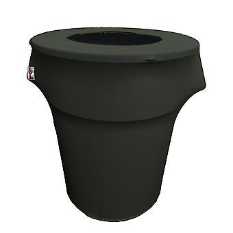 La Linen Stretch Spandex Trash Can Cover 55-Gallon Round,Black