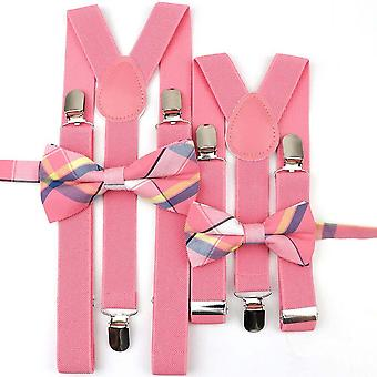 Mens Kids Plaid Striped Suspenders, Bowtie Sets, Child, Baby,, Y-back Braces,