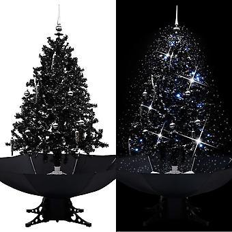 vidaXL ثلجي شجرة عيد الميلاد مع قاعدة مظلة أسود 140 سم PVC