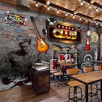 Mural Wallpaper 3d Vintage Brick Wall Music Theme Ktv Bar Background Wall