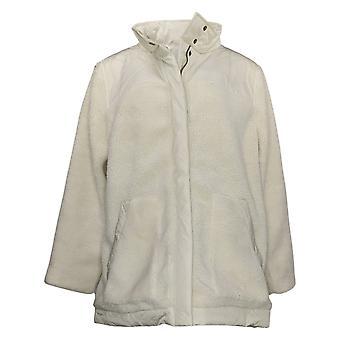 Zuda Women's Plus Long Sherpa Jacket With Woven Trims White A388608