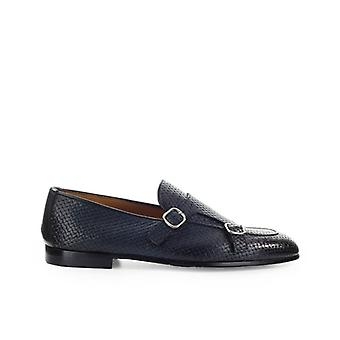 Doucal's Double Buckle Blue Loafer