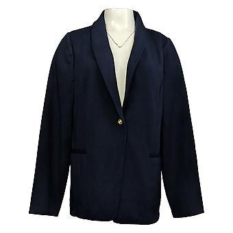 IMAN Global Chic Women's Reg Ponte Knit Blazer Blue 724675