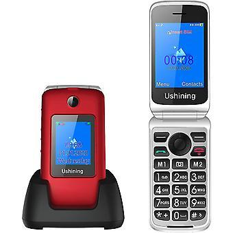 """FengChun Klapphandy ohne Vertrag, 3G Seniorenhandy mit Groen Tasten 2,8""""+1,8"""" Dual Display 1200mAh"""