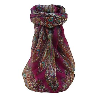 Mulberry Silk Tradicional Bufanda Cuadrada Kajol Rosa por Pashmina & Seda