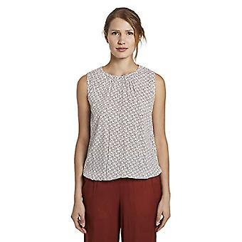 Tom Tailor Rundhals T-Shirt, 24045/White Geometric Desi, 44 Women