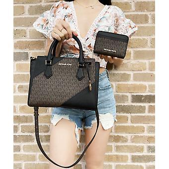 Michael kors hope md messenger small satchel brown mk signature black + wallet