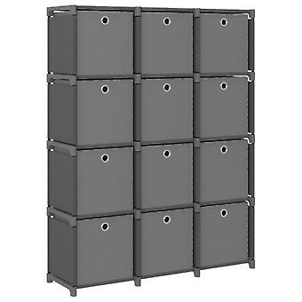 Schrank mit 12 Fächern mit Boxen 103X30X141 Cm Stoff grau