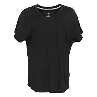 Isaac Mizrahi En direct! Femme-apos;s Top Pima Dolman Sleeve T-Shirt Noir A378935