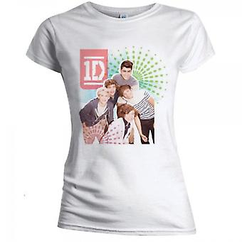 One Direction Color Test Skinny White Ladies T-Shirt Medium