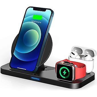3 in 1 draadloze oplader voor Apple Watch & AirPods Charging Dock Station, nachtkastjemodus voor iWatch-serie SE / 6 / 5 / 4 / 3 / 2 / 1, snel opladen voor iPhone 12 / 11 / Pro Max / XR / XS Max / Xs / X / 8 / 8P, (zwart)