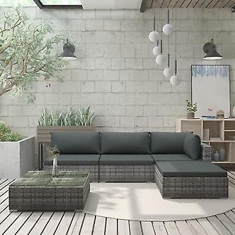 vidaXL 5 stuks. Garden Lounge Set met Pads Poly Rotan Grijs