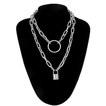 Layered Chain Necklace, Chains Lock Pendant Jewelry, Punk Choker, Padlock Goth,(Silver