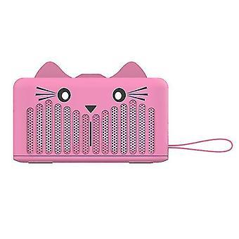 Altoparlante Bluetooth wireless 4.2 Carino Gatto portatile Mini Cartone animato Subwoofer Supporto telefonico (rosa)