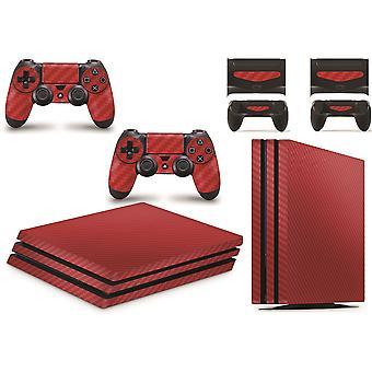 GNG PS4 PROコンソール スキンビニールカバー デカールステッカー カーボンレッドコントローラースキンセット