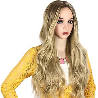Wig Chemical Fiber Long Curly Large Wavy Gold-colored