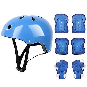 7 PCS ילדים ציוד מגן להגדיר רולר סקייט קסדה מרפק פרק כף היד כרית הברך עבור רכיבה על אופניים סקייטבורד