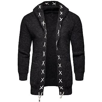 Men's Knitted Cardigan Hooded Sweaters With Pocket Suitable For Autumn