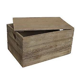 Große Eiche Wirkung Herz Schnitt Griff aus Holz Lidern Aufbewahrungsbox